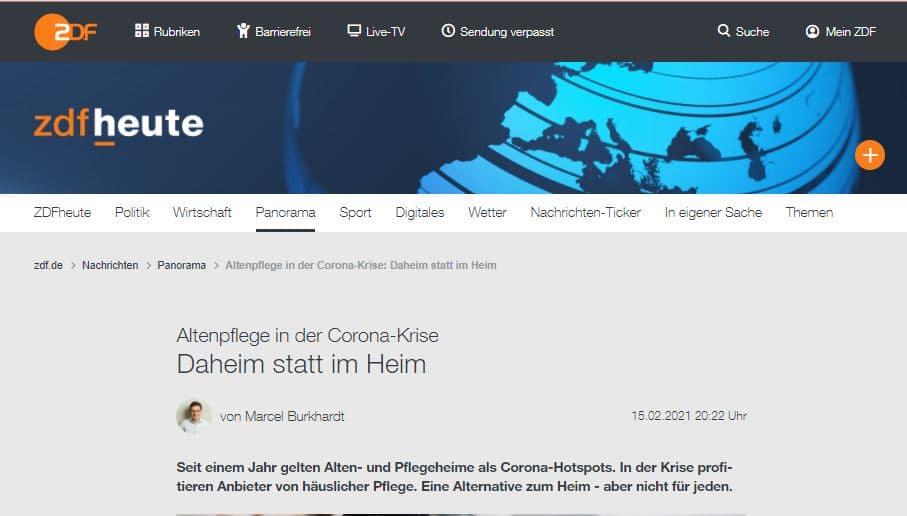 Pflegehelden ZDF Beitrag 15.02.2021