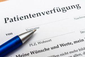 Dokument mit Überschrift 'Patientenverfügung'