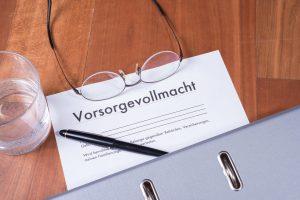 Dokument mit Aufschrift 'Vorsorgevollmacht'